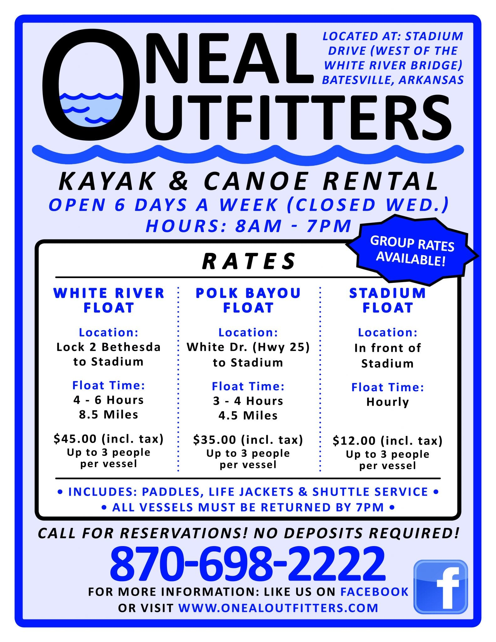 Oneal Outfitters Recently Opened at Batesville! Canoeing