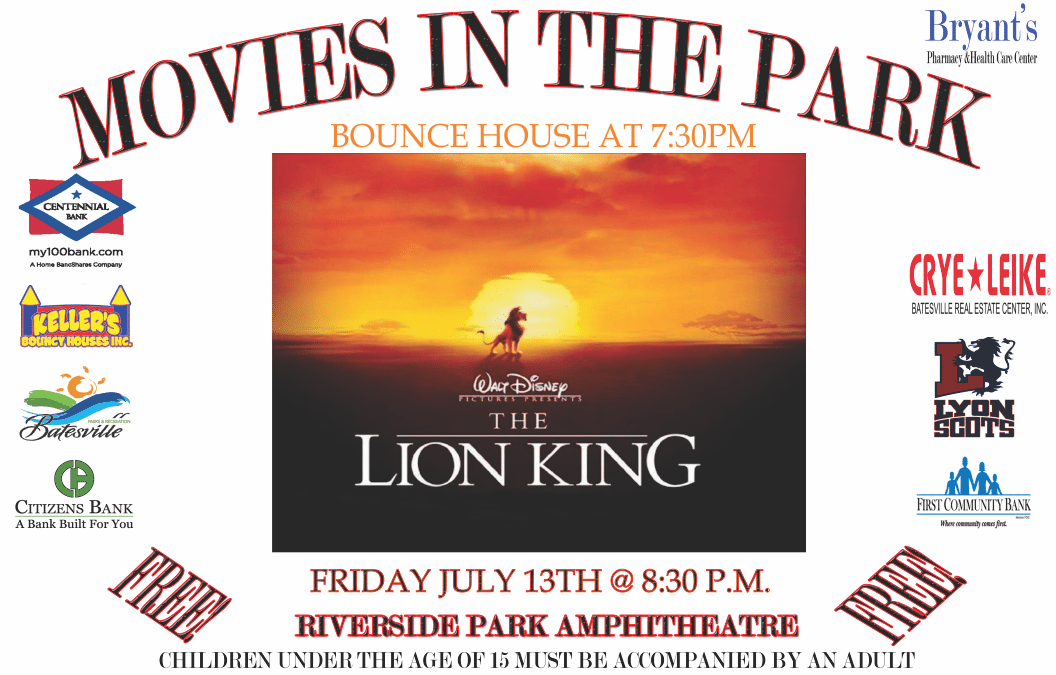 Batesville Parks and Recreation Department Offers FREE Movie in the Park July 13th – The Lion King