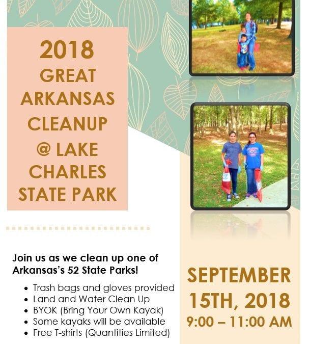 Lake Charles State Park Organizing Litter Pickup for September 15, 2018