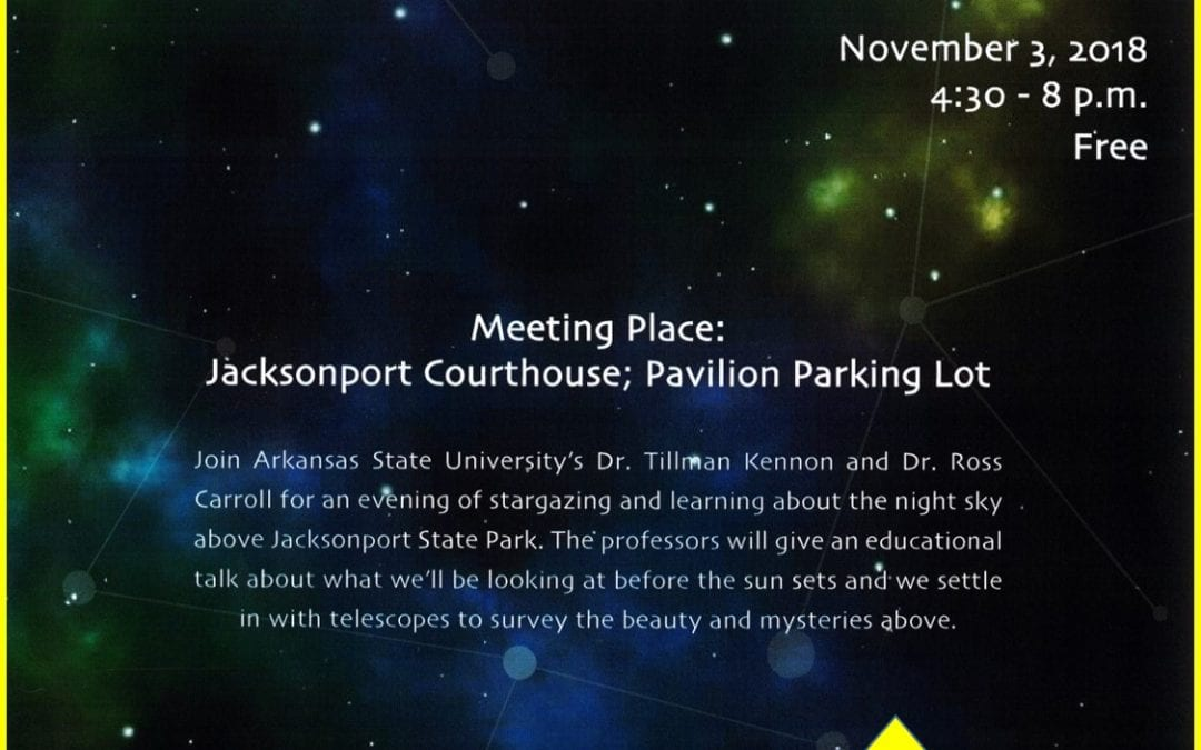 Jacksonport State Park is hosting a Star Party this weekend, Saturday, November 3rdbeginning at 4:30 p.m. in the Courthouse Museum.