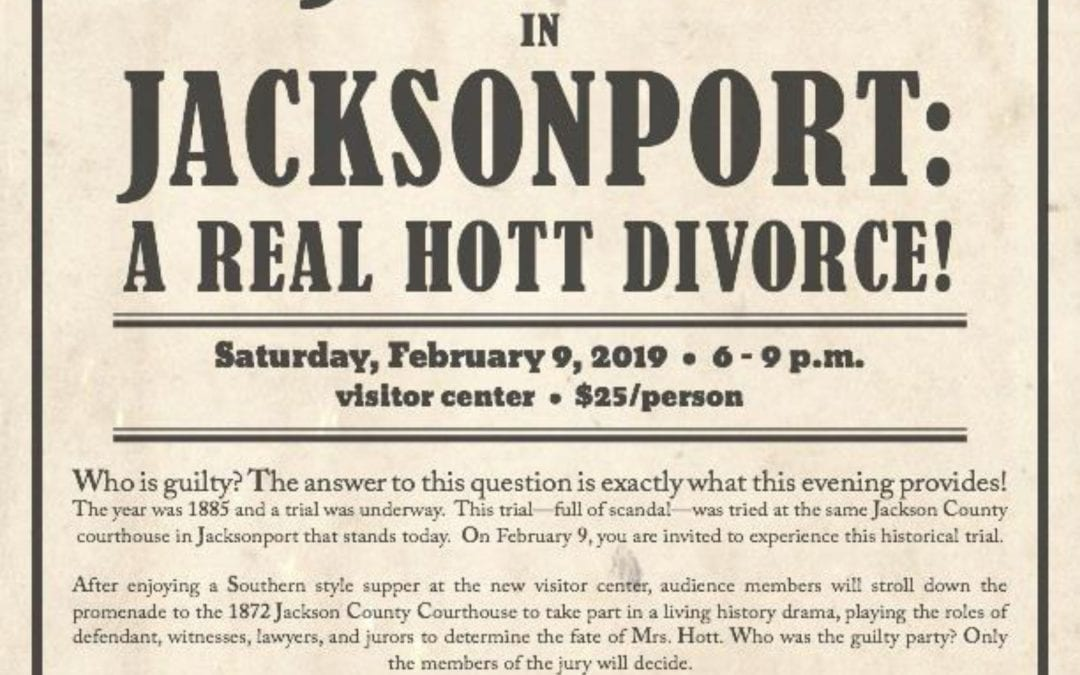 "Jacksonport State Park will present   ""Justice In Jacksonport: A Real Hott Divorce!"""
