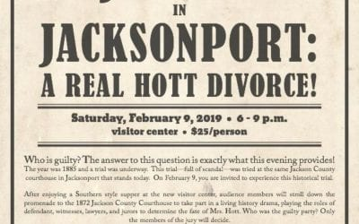 """Jacksonport State Park will present   """"Justice In Jacksonport: A Real Hott Divorce!"""""""