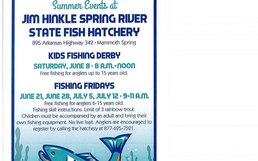 Mammoth Spring hatchery sets free fishing for kids