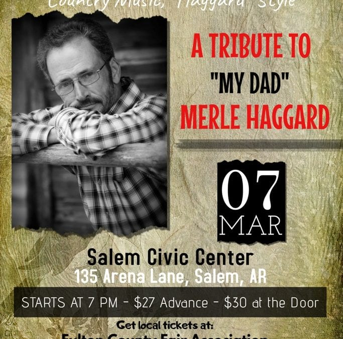 """Marty Haggard will bring Country Music """"Haggard Style"""" to the Salem Civic Center in Salem Arkansas on March 7th"""
